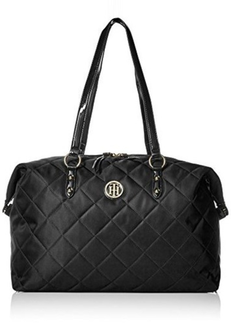 tommy hilfiger tommy hilfiger quilted weekender bag black one size handbags shop it to me. Black Bedroom Furniture Sets. Home Design Ideas