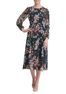 Tommy Hilfiger Romantic Azalea Chiffon Midi A-Line Dress