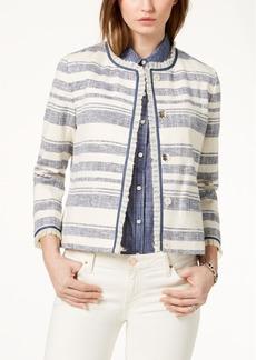 Tommy Hilfiger Ruffle-Trim Striped Jacket