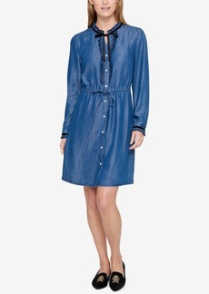 Tommy Hilfiger Ruffled Chambray Shirtdress, Created for Macy's