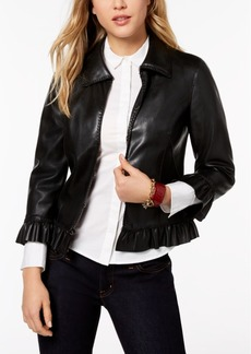 Tommy Hilfiger Ruffled Faux-Leather Jacket, Created for Macy's