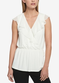 Tommy Hilfiger Ruffled Faux-Wrap Blouse