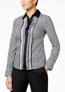 Tommy Hilfiger Ruffled Gingham Blouse