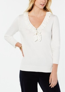 Tommy Hilfiger Ruffled Henley Sweater, Created for Macy's