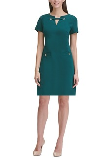 Tommy Hilfiger Scuba Crepe Grommet Dress