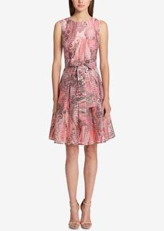 Tommy Hilfiger Shadow-Stripe Fit & Flare Dress