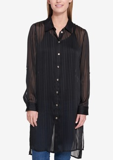 Tommy Hilfiger Sheer Striped High-Low Shirt Dress, Created for Macy's