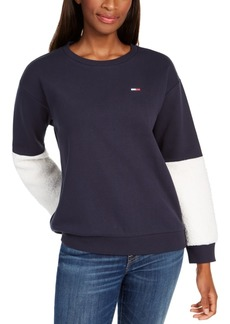 Tommy Hilfiger Sherpa-Sleeve Sweatshirt, Created For Macy's