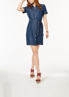 Tommy Hilfiger Short-Sleeve Denim Shirtdress, Created for Macy's