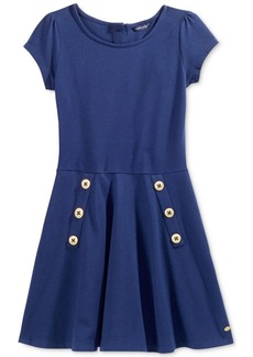 Tommy Hilfiger Short-Sleeved Button Skater Dress, Big Girls