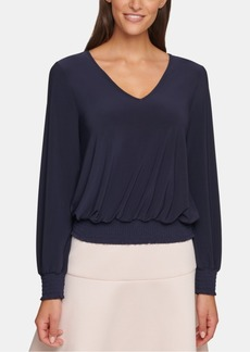 Tommy Hilfiger Smocked Long-Sleeve Top
