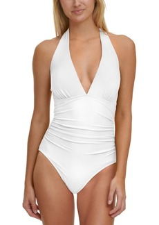 Tommy Hilfiger Solid Halter One-Piece Swimsuit Women's Swimsuit