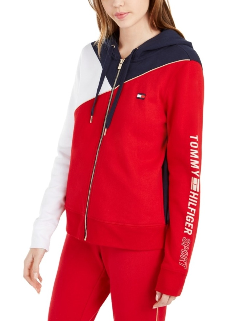 Tommy Hilfiger Sport Colorblocked Zip-Up Hooded Sweatshirt