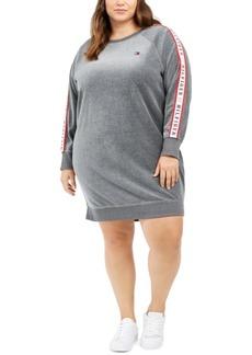 Tommy Hilfiger Sport Plus Size Velour Logo-Tape Dress
