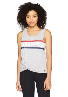 Tommy Hilfiger Sport Women's Logo Knotted Tank Dove Heather with Striped Hilfiger Logo