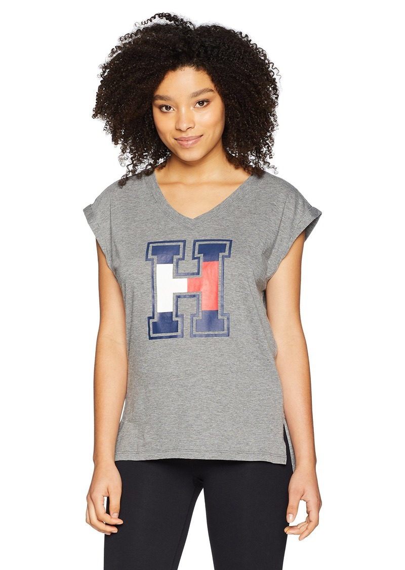 Tommy Hilfiger Sport Women's V Neck Graphic Muscle TEE ash Heather