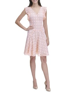 Tommy Hilfiger Starboard Lace Flutter-Sleeve A-Line Dress