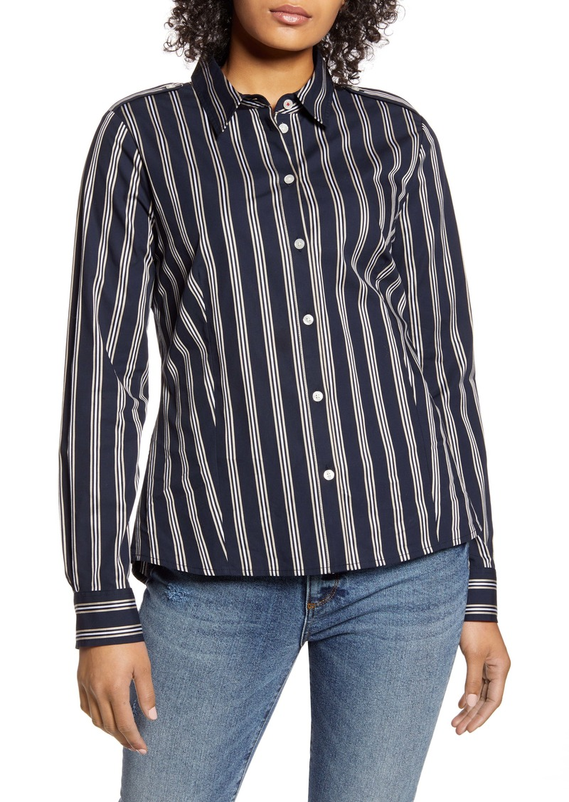 Tommy Hilfiger Stripe Button Front Blouse
