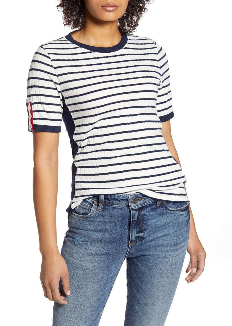Tommy Hilfiger Stripe Button Sleeve Rib Knit Top