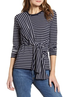 Tommy Hilfiger Stripe Long Sleeve Tie Front Top