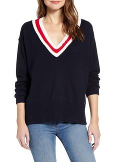 Tommy Hilfiger Stripe V-Neck Sweater