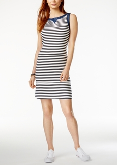 Tommy Hilfiger Striped Chambray-Contrast Dress, Only at Macy's
