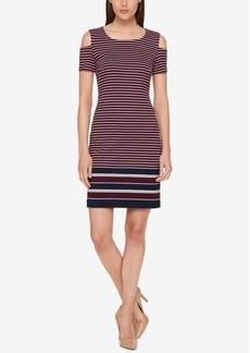 Tommy Hilfiger Striped Cold-Shoulder Sheath Dress