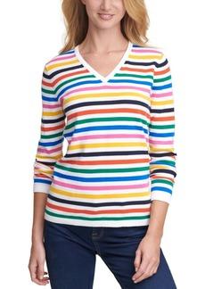 Tommy Hilfiger Ivy Striped V-Neck Sweater