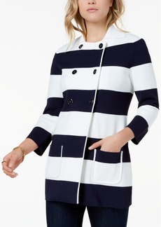 Tommy Hilfiger Striped Double-Breasted Knit Jacket, Created for Macy's