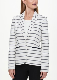 Tommy Hilfiger Striped Elbow-Patch Blazer