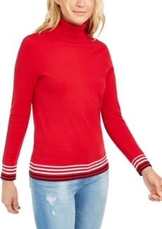 Tommy Hilfiger Striped-Hem Button-Sleeve Turtleneck Sweater