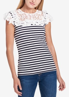 Tommy Hilfiger Striped Lace-Ruffle Top, Created for Macy's