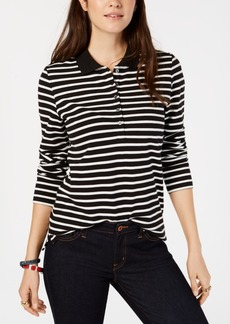 Tommy Hilfiger Striped Long-Sleeve Polo Shirt, Created for Macy's