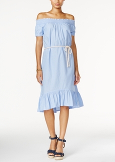 Tommy Hilfiger Striped Off-The-Shoulder Dress, Only at Macy's