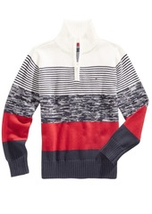 Tommy Hilfiger Striped Quarter-Zip Cotton Sweater, Little Boys