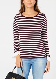 Tommy Hilfiger Striped Ruffled-Cuff Sweater, Created for Macy's