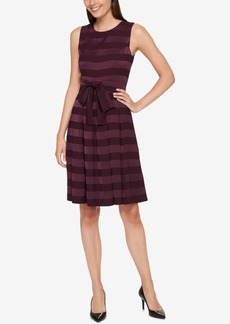 Tommy Hilfiger Striped Satin Fit & Flare Dress