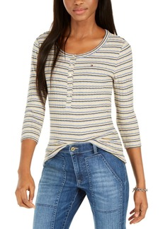 Tommy Hilfiger Striped Snap-Front Henley Top