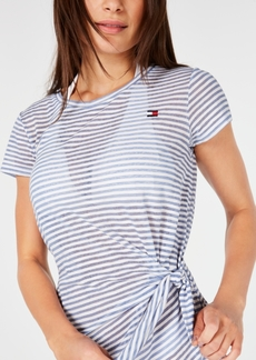 Tommy Hilfiger Striped Tie-Front Cover-Up Dress Women's Swimsuit