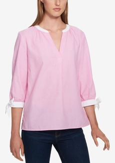 Tommy Hilfiger Striped Tie-Sleeve Blouse, Created for Macy's