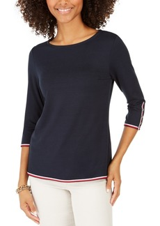 Tommy Hilfiger Striped-Trim Button-Cuff Top, Created For Macy's