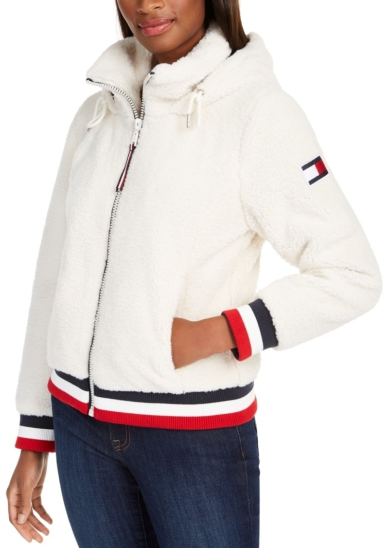 Tommy Hilfiger Striped-Trim Fleece Hooded Jacket, Created For Macy's
