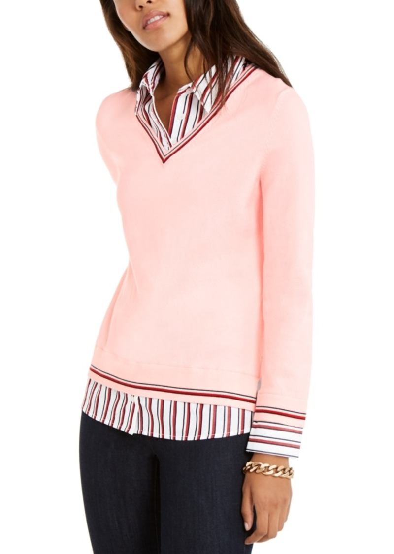 Tommy Hilfiger Striped-Trim Sweater, Created For Macy's