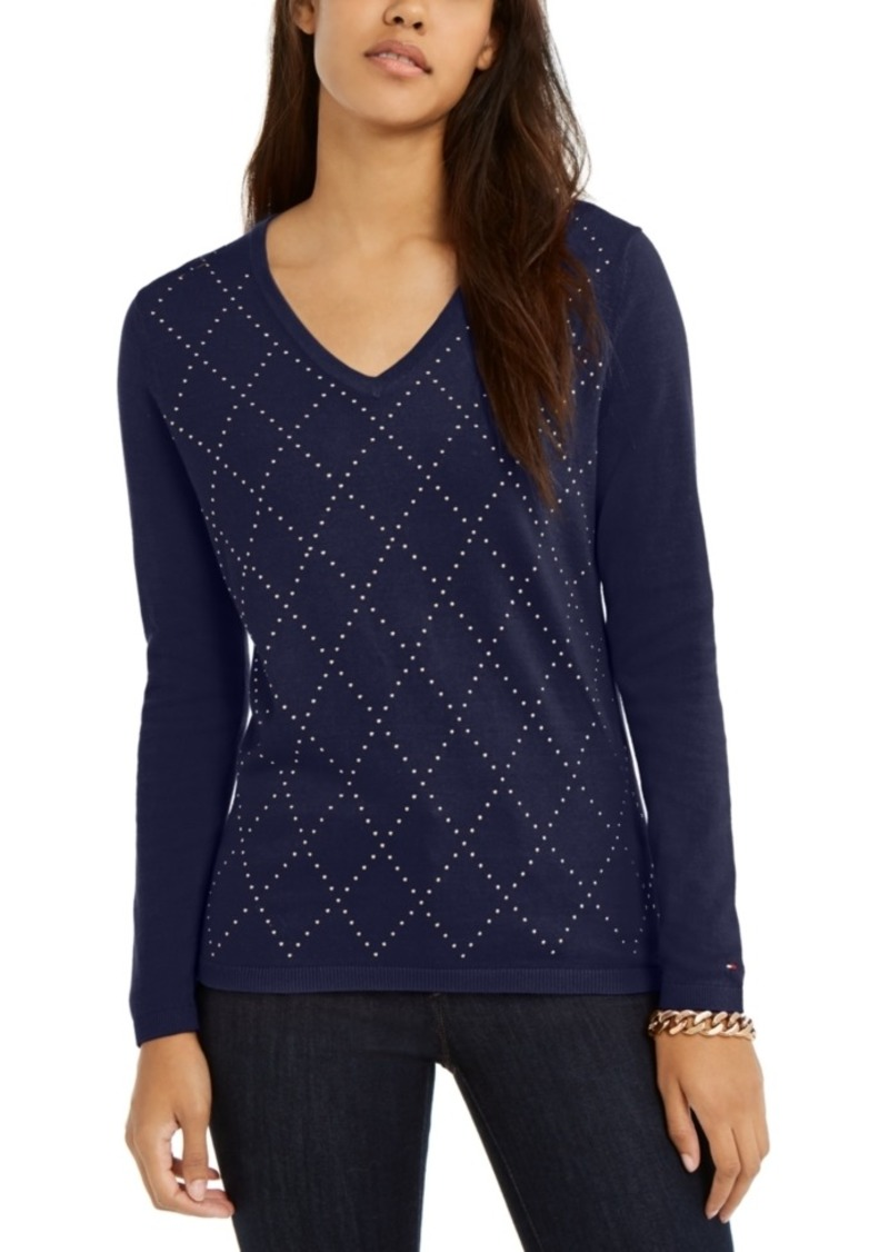 Tommy Hilfiger Studded Argyle Cotton Sweater, Created For Macy's