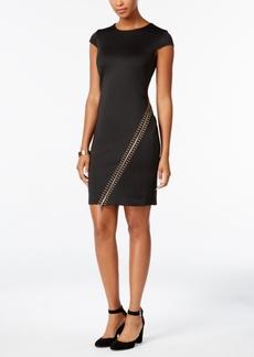 Tommy Hilfiger Studded Zip-Trim Sheath Dress