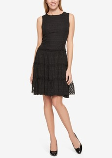 Tommy Hilfiger Textured Ruffle-Detail Dress, Only at Macy's