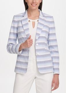Tommy Hilfiger Textured Striped Two-Button Blazer