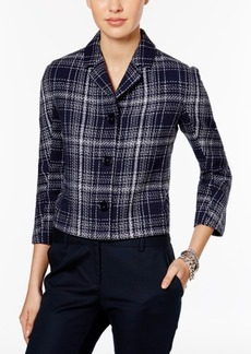 Tommy Hilfiger Three-Button Cropped Plaid Jacket