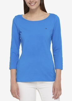 Tommy Hilfiger Three-Quarter-Sleeve Boat-Neck Top, Created for Macy's
