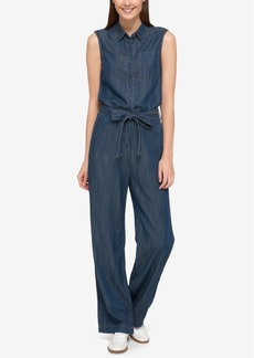 Tommy Hilfiger Tie-Front Denim Jumpsuit, Only at Macy's